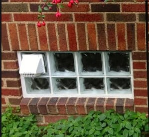 Glass block window dryer vent