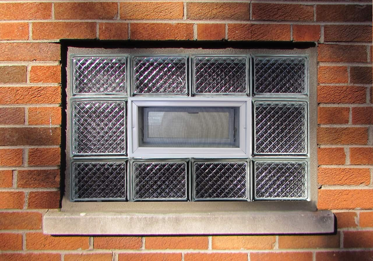 Diamond glass block window
